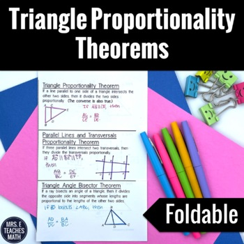 Triangle Proportionality Theorems Foldable