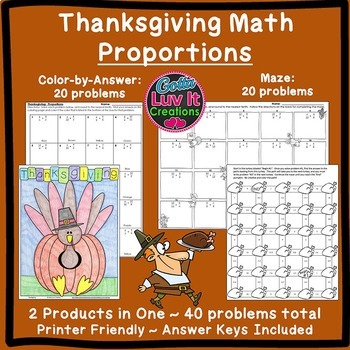 Thanksgiving Math: Proportions Bundle Maze & Color by Number Coloring Page