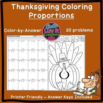 Thanksgiving Math Activity Solving Proportions Bundle