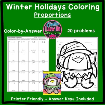 Christmas Activity: Proportions Color by Number