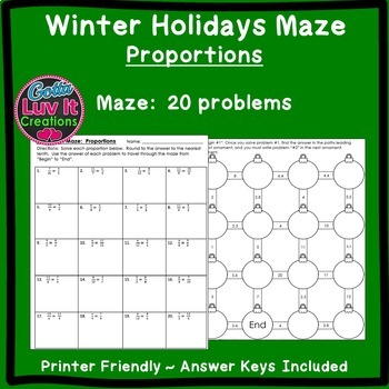 Christmas Math Solving Proportions Maze & Color by Number Christmas Activity