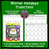 Christmas Math Winter Math Proportions Maze & Color by Number Activity Bundle