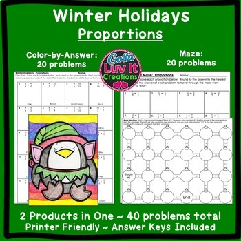 Christmas Math Proportions Maze & Color by Number Christma