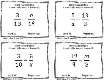 Proportions 40 Task Cards Great Math Review for end of year