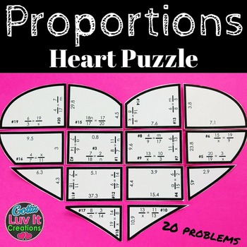 Valentine's Day Math Solving Proportions Heart Puzzle Valentine's Day Activity