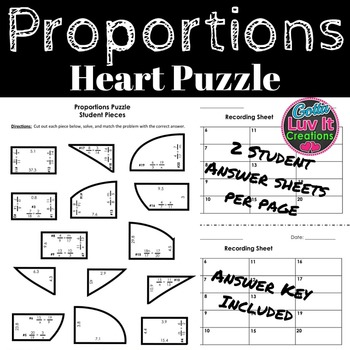 Valentine's Day Math Proportions Heart Puzzle Valentine's Day Activity