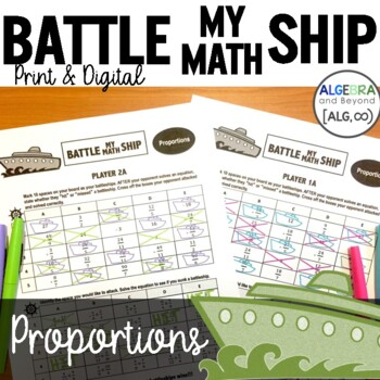 Proportions Activity - Battle My Math Ship Game
