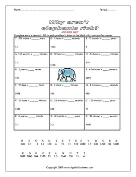 Solving Proportions: Unit Conversions (Time) Worksheet