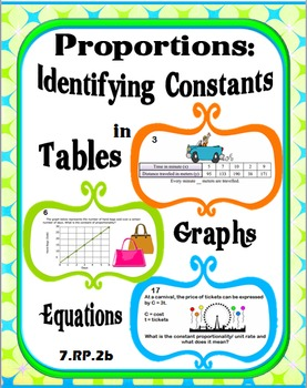 Proportions:  Identifying Constants in Tables, Graphs, and