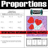Proportions Interactive Notebook Valentine's Day Coloring Activity