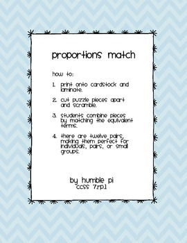 Proportions Match- 7.RP.1