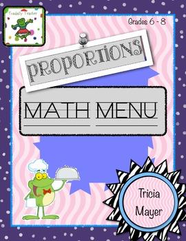 Proportions Math Menu Grades 6-8