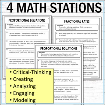 Proportions Math Stations  :  Middle School Math Stations