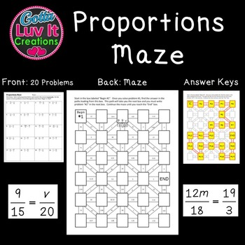 Proportions 2 Mazes 40 problems Great Math Review for end of year