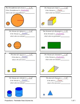 Proportions - Perimeter Area Volume