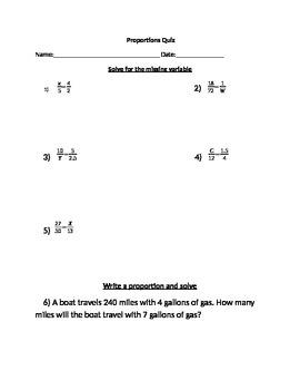 Proportions Quiz