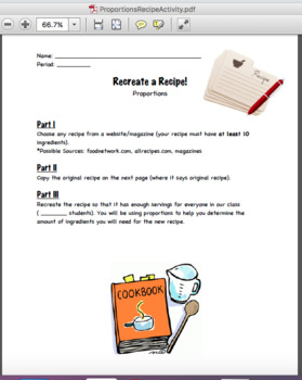 Proportions Recipe Activity