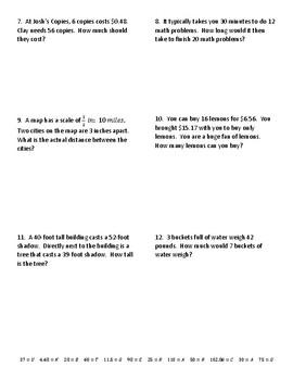 Proportions, Similar Figures, and Scale Drawings Joke Worksheet