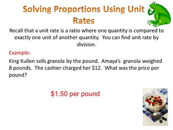Proportions:  Solving Proportions Using Unit Rate