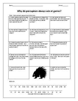 Solving Proportions Word Problems Worksheet 1 by Algebra Funsheets
