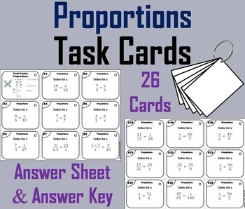 Solving Proportions Task Cards 6th 7th 8th 9th Grade
