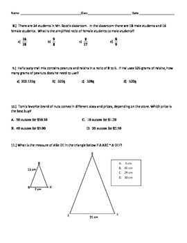 Proportions, Unit Rates, Similar Figures Review Packet