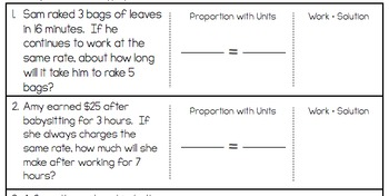Proportions Word Problem Worksheet - FREEBIE