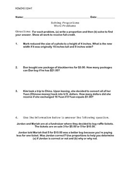 Proportions Word Problems