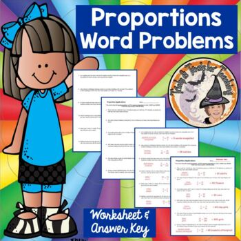 Proportions Word Problems Applications Practice Worksheet with ANSWER KEY