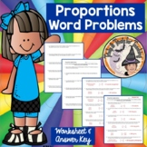 Proportions Word Problems Applications Practice Worksheet w/ ANSWER KEY