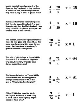 Proportions Word Problems Card Sort 1 Setting Up And Solving