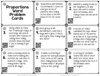 Proportions Word Problems Cards--Equivalent Ratios, Rates and Percents