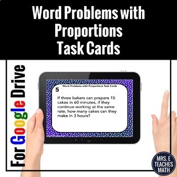 Proportions Word Problems Task Cards Digital Activity