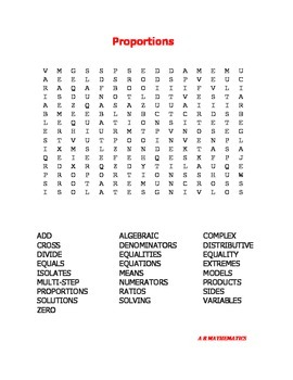 Proportions Word Search