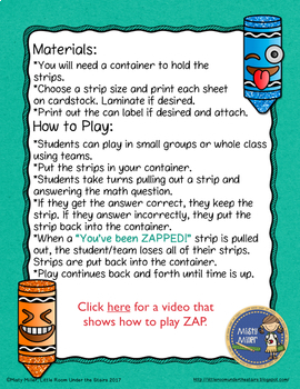 Proportions Don't Get ZAPPED Math Game