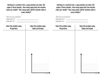 Proportions and Direct Variations ISN Notes and Task Cards (Middle School Math)