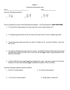 Proportions and Percents Quiz
