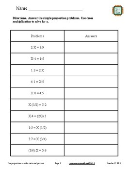 Proportions and Ratio and Percent Problems - 7.RP.3