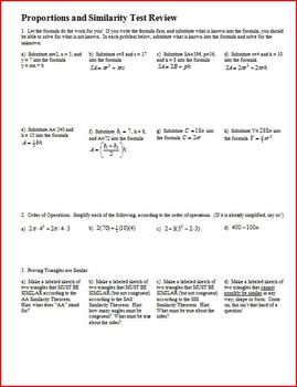 Proportions and Similarity Test Review (Editable)