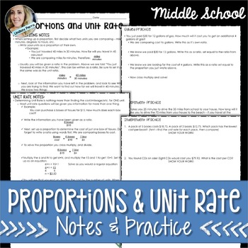 Proportions and Unit Rates Notes and Practice