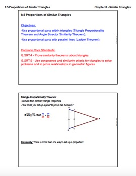 Proportions of Similar Triangles (Lesson with Homework)