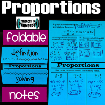 Proportions (solving, definition) Foldable Notes Interactive Notebook