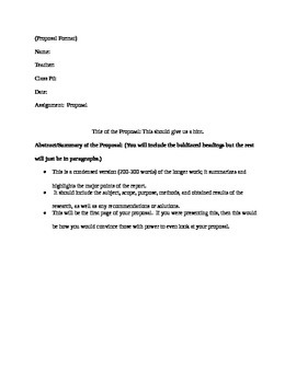 Proposal Assignment