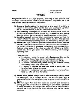Proposal Essay Assignment