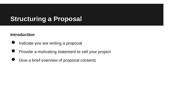 Proposals: A Very Brief Guide