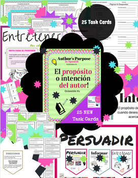 Spanish Author's Purpose Task Cards - Proposito del Autor - 24 Task Cards