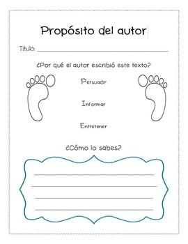 Proposito del autor - Author's Purpose (Spanish) Graphic Organizer