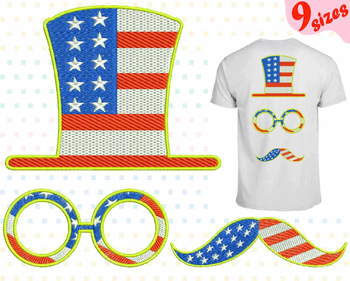 Props 4th of July Embroidery Design Happy new Year Fourth July glasses flag 173b