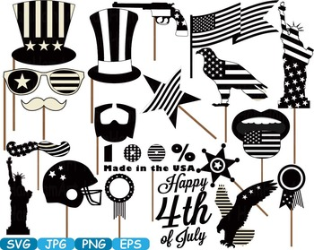 Props 4th of July Party Photo Booth Prop Silhouette america usa clipart -283s