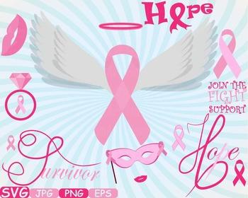 Props Breast Cancer awareness SVG clip art swirl ribbon da